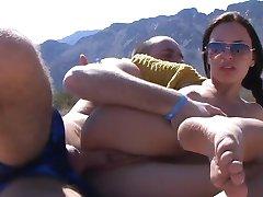 Pretty girl has sex on sandy beach