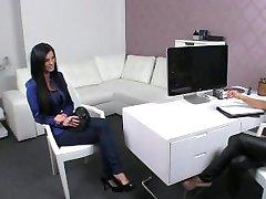 Brunette fingeres and licks female boss in office