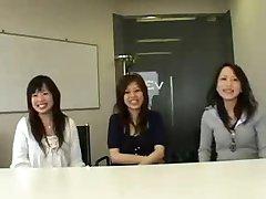 3 Japanese women watch guy masturbate