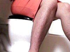 Very Hairy Brunette in Bathroom