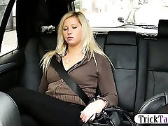 Blonde Chubby woman squirts while her pussy gets fucked by a taxi driver on the backseat of the car