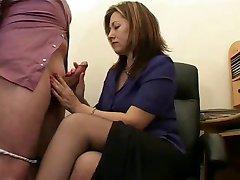 Hot Mature Secretary Jerks The Jizz From Bosses Cock !
