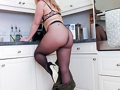 Anna wears seamless pantyhose in this racy kitchen set!
