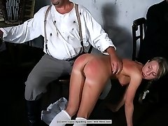 An endless punishment with the strap in front of her friends and family