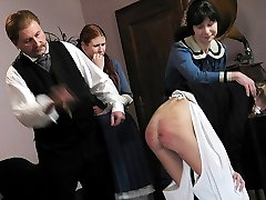 Brutal caning punishments for young girl in tears - deep red stripes