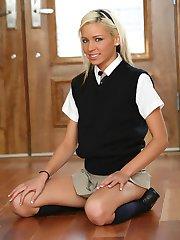 Kacey Jordan opens her uniform to show her tiny tits