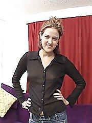 Young brunette slides her panties up her shaved camel toe slit