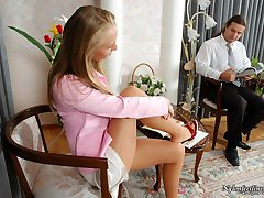 Upskirt gal in sandals teasing kinky guy with her slender legs in lacy hose