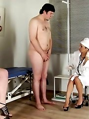 Two CFNM sluts milk a guy at the medical exam