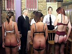 Brutal caning punishments for three girls with panties removed - burning red strokes
