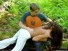 Naked cutie spanked in the forest - dildo play and hot burning buttocks