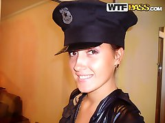 Slutty brunette posing in a hot amateur police uniform - PrivateSexTapes.com