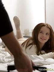 Lovely babe dreaming on the bed gets anal surprise from her handsome boyfriend
