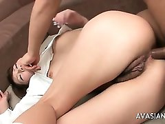 Cuttie japaneses asshole completely filled with cum