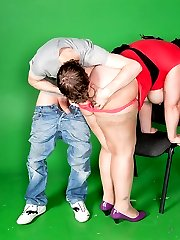 Sleazy sexy plumper ruins family fucking husband in his video studio