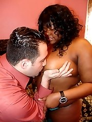 Black BBW pornstar with a massive set of knockers gets fucked and cum glazed all over her mug