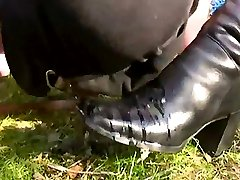 Outdoor pee and foot slave training