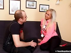 Blonde teen whore impaled on huge pecker