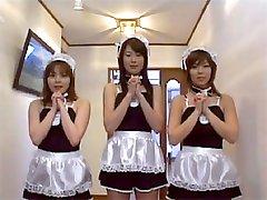 Three Maids giving footjob