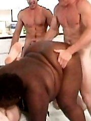 Fucked hard by three white cocks