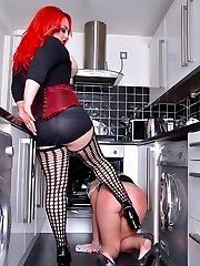 Mistress Jemstone gives Sarah Jane some abuse in the kitchen