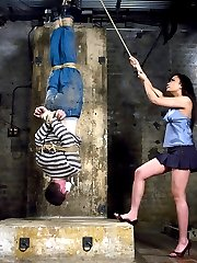 Act like an ass in a club and you may get what you you are asking for: an ass kicking by Annie Cruz.Miss Cruz is petite but able to subdue this jackass, then drag him back to her basement to really fuck with him.  She hangs him upside down and beats him till he stammers out a weak apology, then he gets it in the ass for his trouble.  The reward, however, is the chance to service that beautiful pussy.  There are worse ways to learn a lesson.