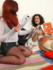 Babes in sheer-to-waist hose playing with hosiery and rubbing their pussies