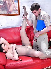 Mature co-worker going for upskirt tease before hot dicking thru pantyhose