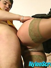 Sexy secretary in suntan nylons takes flowers getting fucked by her admirer