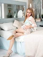 Chloe gets down to some personal pleasuring in her swish sheer designer pantyhose, loving the...