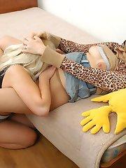 Vivacious chicks enjoying sheer nylon while playing with expensive hosiery