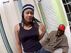 Pretty black teen from the hood gets all dressed up for a lewd pimping