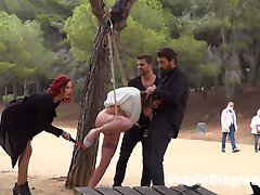 Summer has come to Barcelona, bringing with it a fresh batch of european sluts who want nothing more than to be publicly fucked and humiliated. The first girl to spread her legs for this season of Public Disgrace is Alexa Nasha. Part one:Alexa Nasha, in a beautiful white summer dress, is bound with rope from a tree in a public park. Couples sit at picnic tables enjoying the summer weather. Slowly, people begin to notice that something interesting is going on as Steve Holmes, Silvia Rubi and Juan Lucho descend upon their bound beauty. Alexa squeals with excitement as the group of three tormentors begin lifting up Alexa's skirt to reveal her dripping wet cunt. Several couples move away from the exposed girl in disgust while others gather around Alexa in amazement. With her hands bound Alexa is unable to resist as she gets passed between the three. The feeling of two uncut cocks sliding in and out of her completely exposed holes causes Alexa to moan with pleasure. This is only the beginning. Part Two:Alexa Nasha put her face on the beer soaked floor of a Barcelona bar. She squeezes her eyes shut as everyone in the bar looks at her swollen cunt. She winces at the idea that everyone can see how excited she is. Her asshole clenches as someone reaches down and slides a finger from her throbbing clit to her leaking hole. Pushing her hips back, Alexa's body begs to get fucked. A man yanks her head off the ground by her hair and yells something in a language she doesn't understand. Opening her eyes to a throbbing cock in front of her mouth she knows exactly what the man needs her to do. With her mouth gaping one man fucks her throat while another penetrates her cunt. The bar chants as she submits to her rightful place as the cum spittoon for the bar.
