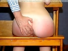 Sound otk spanking on soft wobbly cheeks - young babe with delightful round ass