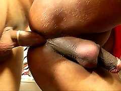 Red pantyhose clad tranny gets fucked