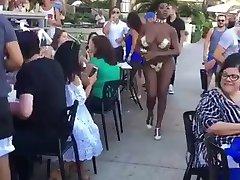 Ebony stripper in White men party