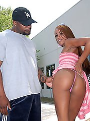 Sexy black teen babe gets hammered hard in the cooch