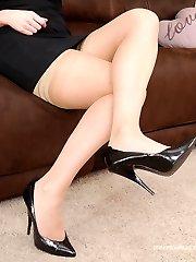 Stunning leggy brunette Imelda teases you in a sexy pair of stiletto heel footwear