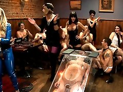 40 women. 2 birthdays. 1 piece of meat. Never before on ANY femdom site have you seen such a blatant form of male humiliation until now. It's true, The Divine are usually put together pretty well but, even they need to let their hair down and take a break from keeping those filthy boys in line.  It's like a frat party but with women and Vince is the lucky piece of meat at the butt of the joke. This is reality femdom at it's finest. Maitresse Madeline and Aiden Starr spend their birthday with 40 local ladies plucked off the streets of San Francisco and one lucky male stripper. This is as real as it gets and the majority of these girls have NEVER seen or done ANYTHING like this before. But, Madeline creates this certain energy in the room and the ladies transform and can't control themselves. They ALL become hungry, ravenous femdoms! EVERYONE participates giving Vince Ferelli a run for his money with corporal punishment, CBT, CFNM, foot worship and the biggest strap-on ass fucking gang bang you've seen in femdom. Madeline stuffs this huge hunk of man meat in a clear, restrictive box with only his useful bits left out while the ladies take turns smothering his face with their asses. He's left hungry, humiliated and covered in female nectar. Lucky fucking bastard.