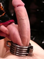 Latex Goddess Lydia McLane lords her intensity over slave boy rick as he squirms in an escape try from string bondage while under the laughing Mistresses whip.  A chilling sounds scene follows, and Lydia continues her abasing onslaught by commanding rick to recite 'I like how my lil' vulva is getting boned' while expanding out his piss slit with the enormous, steel rods.  In the end, rick is strung up and pounded in the butt while Lydia masturbates her gloved hands over his stiff, sore cock.  Maybe she will even allow him to come?