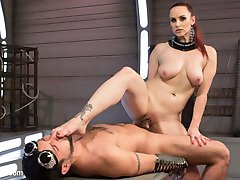 In this sci-fi styled update, latex-clad Mistress Bella Rossi ties and teases her submissive DJ out in deep space where no one can hear his screams. She teases and punishes his bound cock and rubs her beautiful latex ass on his face while he begs for more. She flogs him and fucks his ass and allows him to worship her. Finally she uses his cock for her pleasure, cumming on her man meat over and over again and leaving him covered in her juices and his own cum.