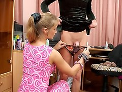 Nasty babe with strap-on working sissy guy�s asshole to the best advantage