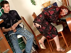 Lewd gay sissy in plain top stockings getting his burning rear plowed hard