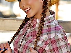 Check out horny cow girl get her ass pounded hard against the rodeo fence in these hot big bush and anal fucking pics
