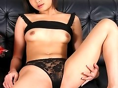 Asian hottie gets her unshaved pussy banged