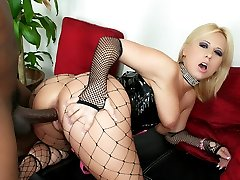 Slutty blondie Georgia Peach throatfucks a black cock and gets her cunt and ass fucked