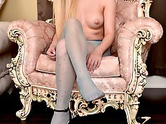 Lena is gorgeous a stunning blonde in sheer sexy nylon, you can join her, and get off with her, she would really love that.