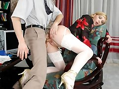 Hottie in lacy stocking showing what she hides under her skirt to her boss
