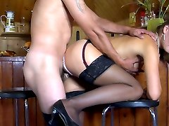 Hottie in shiny black nylons makes a guy taste her pussy and poke her hard