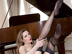 Samantha tinkles the ivory keys of the piano, only to strike a different note, one of arousal and sexual passion!